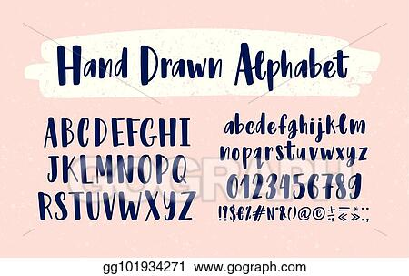 Collection Of Upper And Lower Case Letters Arranged In Alphabetical Order Figures Symbols Handwritten With Calligraphic Font