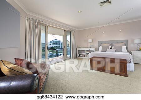 Stock Photos - Stylish master bedroom in australian mansion ...
