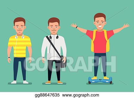 Vector Art Stylish Teenager Boy In Different Poses Cartoon