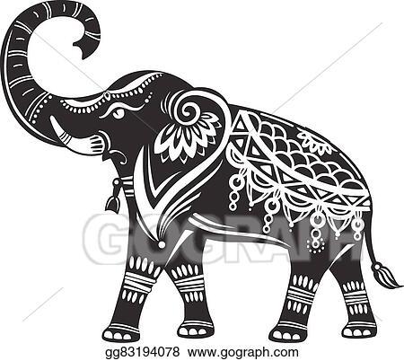 Vector Illustration - Stylized decorated elephant . EPS ...