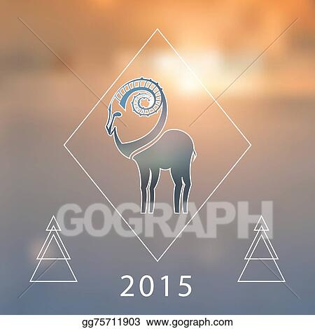 stylized hipster silhouette of goat inside the rhomb on blured background ibex symbol vector illustration