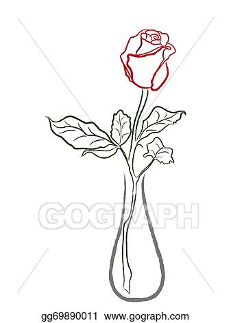 Vector Art Stylized Red Rose In A Vase Clipart Drawing Gg69890011