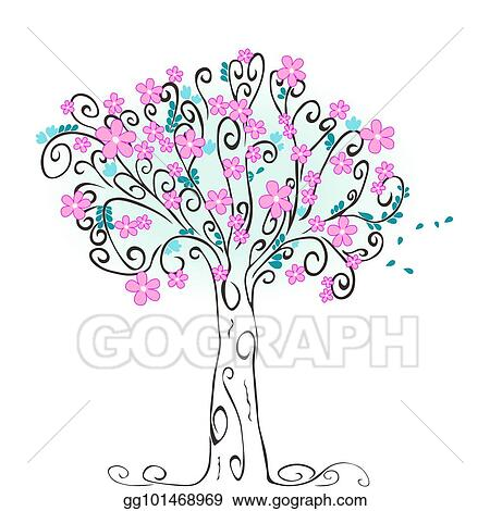 Vector Art Stylized Spring Tree Clipart Drawing Gg101468969 Gograph