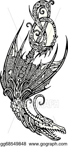 Vector Illustration Stylized Winged Dragon Stock Clip Art