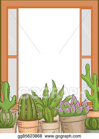 Vector Stock - Succulents plants window frame. Clipart Illustration ...