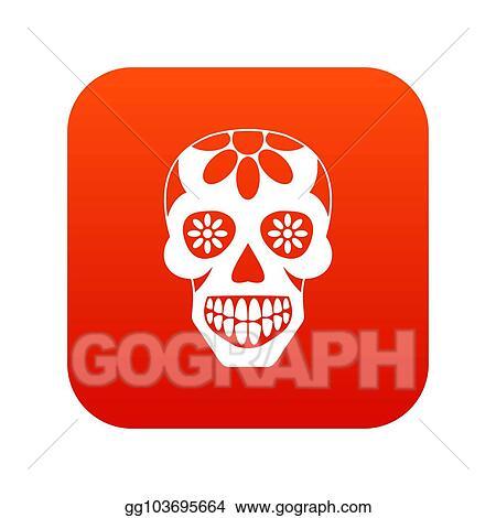 stock illustration sugar skull flowers on the skull icon digital