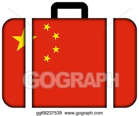 Drawing Suitcase With China Flag Clipart Drawing Gg68237539 Gograph