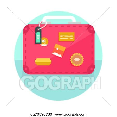 vector clipart suitcase with travel stickers vector illustration