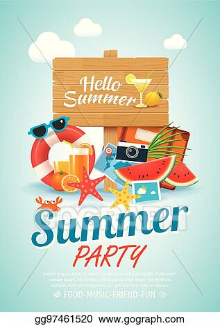 eps illustration summer beach party invitation poster background