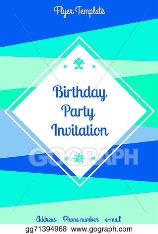 Vector Clipart Summer Birthday Flyer Template Vector Illustration