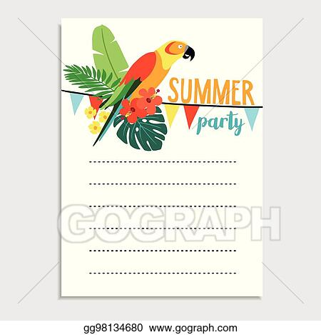 Vector Clipart Summer Birthday Party Greeting Card Invitation