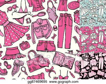 4612a1543fc6 Vector Illustration - Summer fashion seamless pattern.woman colored ...