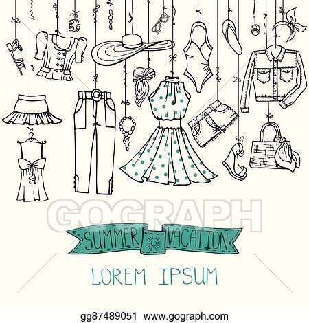 cba94d52ab6c Clip Art Vector - Summer fashion set.woman linear wear hanging on ...