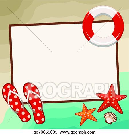 Vector Stock - Summer frame with beach symbols. . Clipart ...