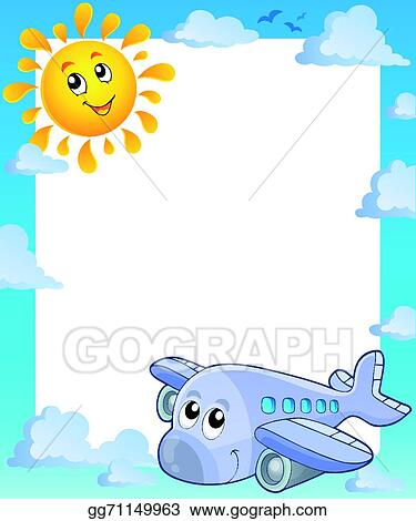 Vector Art - Summer frame with sun and airplane. EPS clipart ...