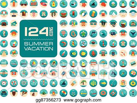 vector stock summer icon set summertime vacation clipart illustration gg87356273 gograph gograph