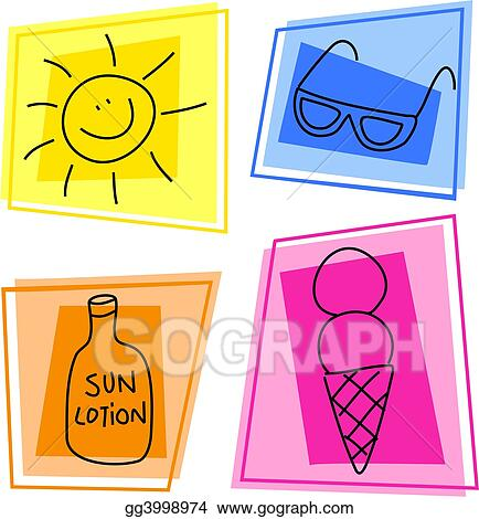 clipart summer icons stock illustration gg3998974 gograph gograph