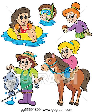 Eps Illustration Summer Kids Activities Collection Vector Clipart
