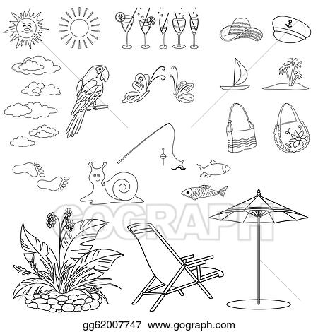 Clipart - Summer objects, outline. Stock Illustration ...