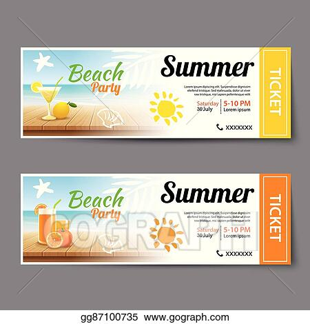 vector illustration summer pool party ticket template stock clip