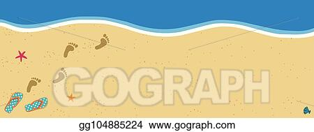 6c2d4655907c6 Summer poster with copy space flip flops and foot prints on sandy beach  background