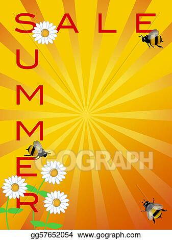 clipart summer sale sign with daisies flowers and bumble bees