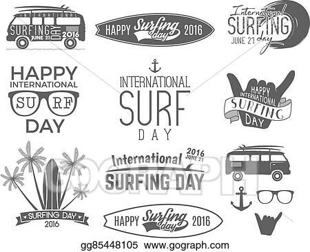 Vector Clipart Summer Surfing Day Graphic Elements Vector
