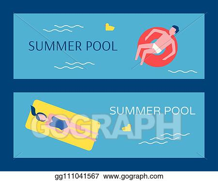 Vector Clipart - Summer swimming pool posters vector illustration ...