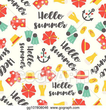 5b8076e534a0 Summer theme seamless pattern, hibiscus flower, beer jug, Hawaii shirt,  beach sandals, swim fin, beach straw hat, hello summer hand writing