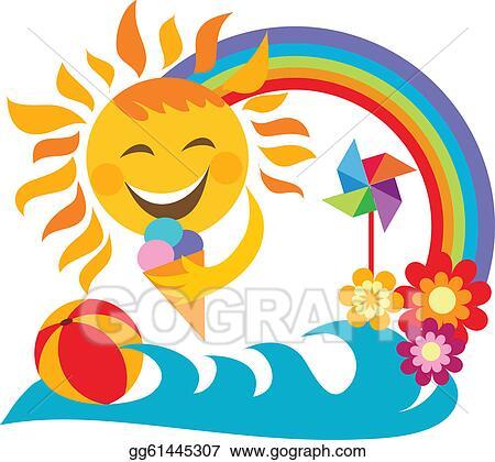Summer Vacation Happy Sun Holding Ice Cream