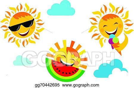 Summer Vacation Set Of Happy Sun Icons
