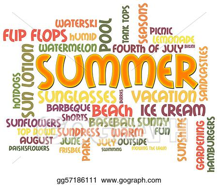 drawing summer word cloud clipart drawing gg57186111 gograph