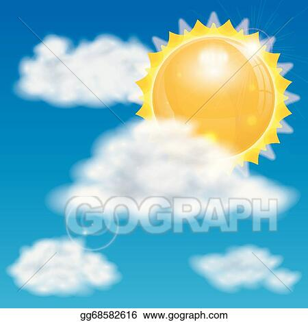 Vector Art - Sun and clouds  Clipart Drawing gg68582616