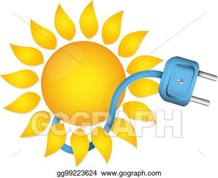 Vector Illustration Sun And Electric Plug With Cable Eps Clipart