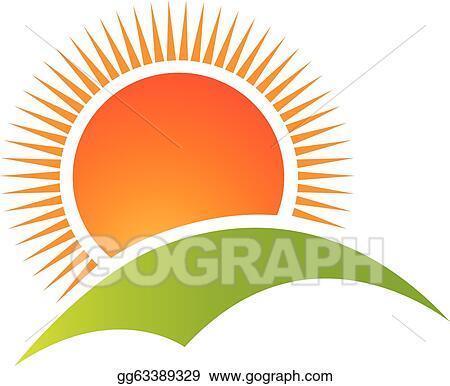Eps Vector Sun And Hill Mountain Logo Vector Stock Clipart