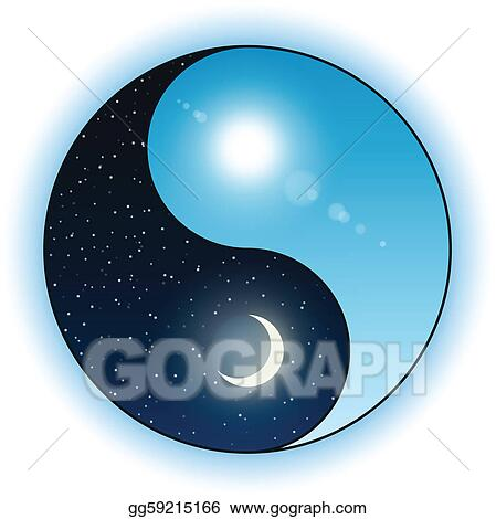 Vector Art Sun And Moon In Yin Yang Symbol Clipart Drawing