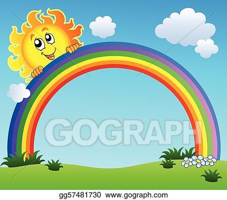 Clip Art Vector - Sun holding rainbow on blue sky. Stock ...