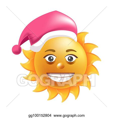 Christmas Emoji.Vector Illustration Sun Smile Santa Hat Cartoon Emoticon