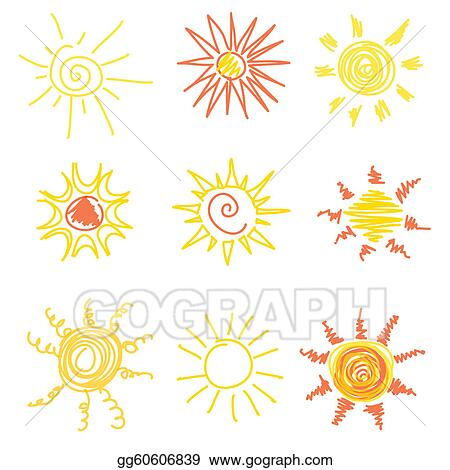 Vector Art Sun Symbols Clipart Drawing Gg60606839 Gograph