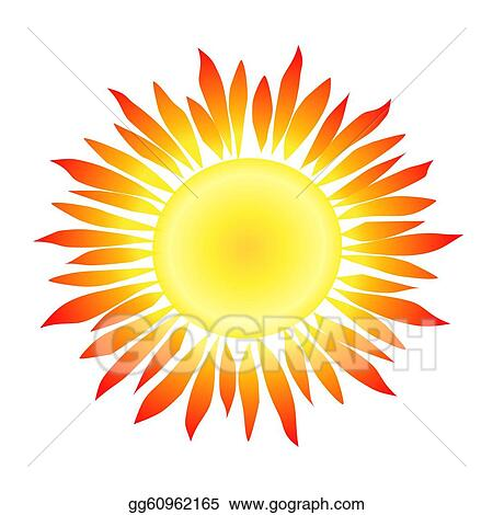 Sun rays drawing. Stock illustration with flame