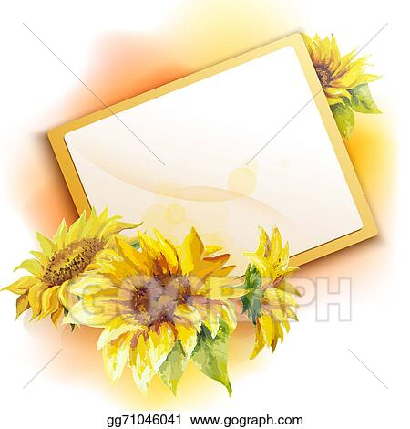 Stock Illustration - Sunflower frame background  Clipart