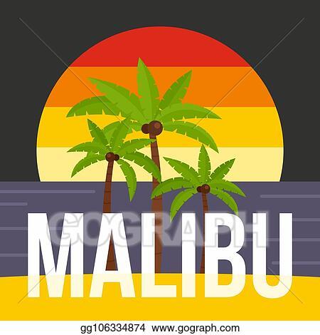 Vector Illustration - Sunset palm tree malibu beach