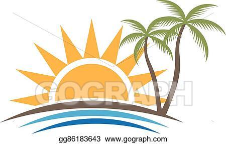Vector Clipart Sunset Tropical Beach Logo Vector Graphic Design Vector Illustration Gg86183643 Gograph