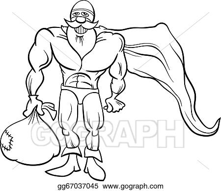 EPS Vector - Super Hero Santa Coloring Page. Stock Clipart Illustration  Gg67037045 - GoGraph