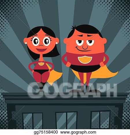vector stock superhero couple cartoon stock clip art gg75158400