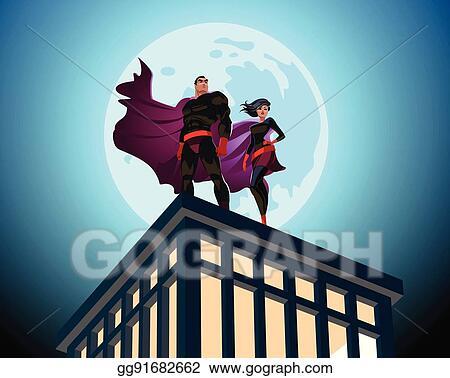 vector art superhero couple male and female superheroes cloudy