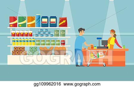 Happy Asian Man Pushing Shopping Trolley Stock Vector (Royalty Free)  603995615