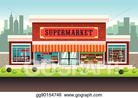 vector art supermarket grocery store clipart drawing gg90154746 rh gograph com grocery store shelves clipart grocery store clipart