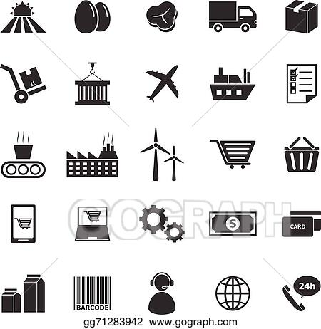 Supply Chain Icons On White Background
