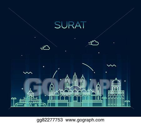 Vector Illustration Surat Skyline Vector Illustration